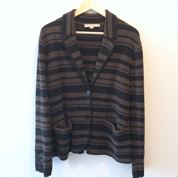 b2cc1dadbd95 LOFT Jackets   Blazers - LOFT Black Brown Striped Cotton Blazer Sweater XL